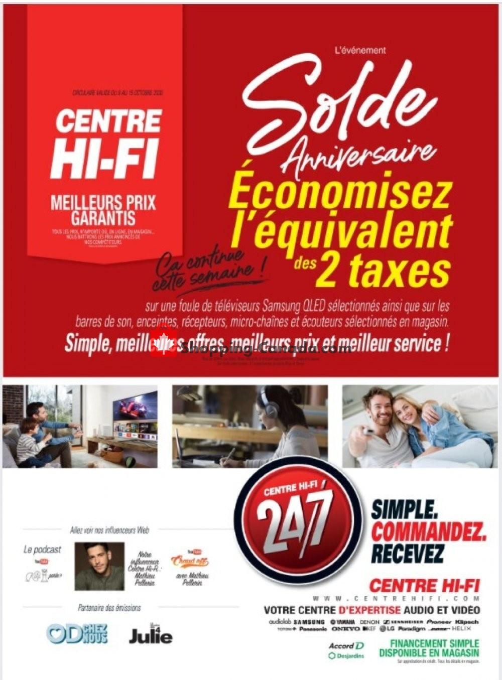 Flyer Centre Hi-Fi Canada - from Friday October 9, 2020 to Thursday October 15, 2020