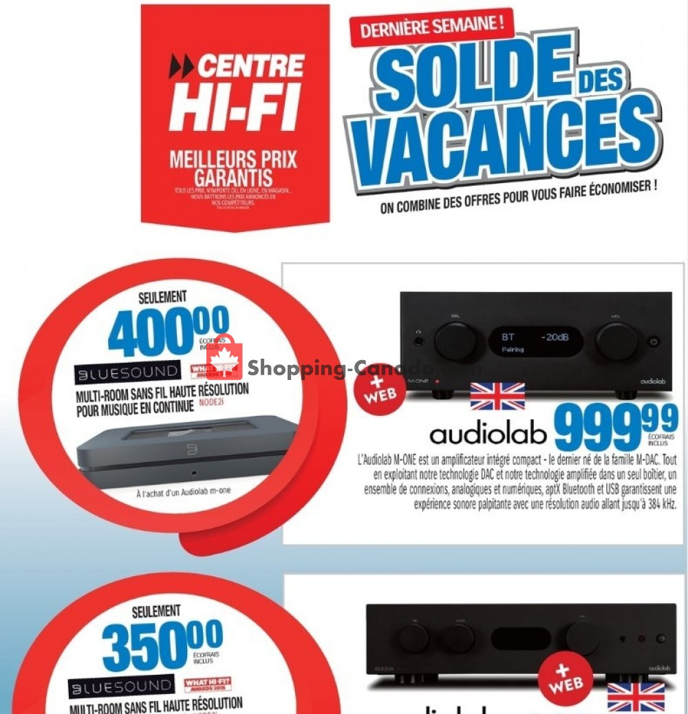 Flyer Centre Hi-Fi Canada - from Friday August 9, 2019 to Thursday August 15, 2019