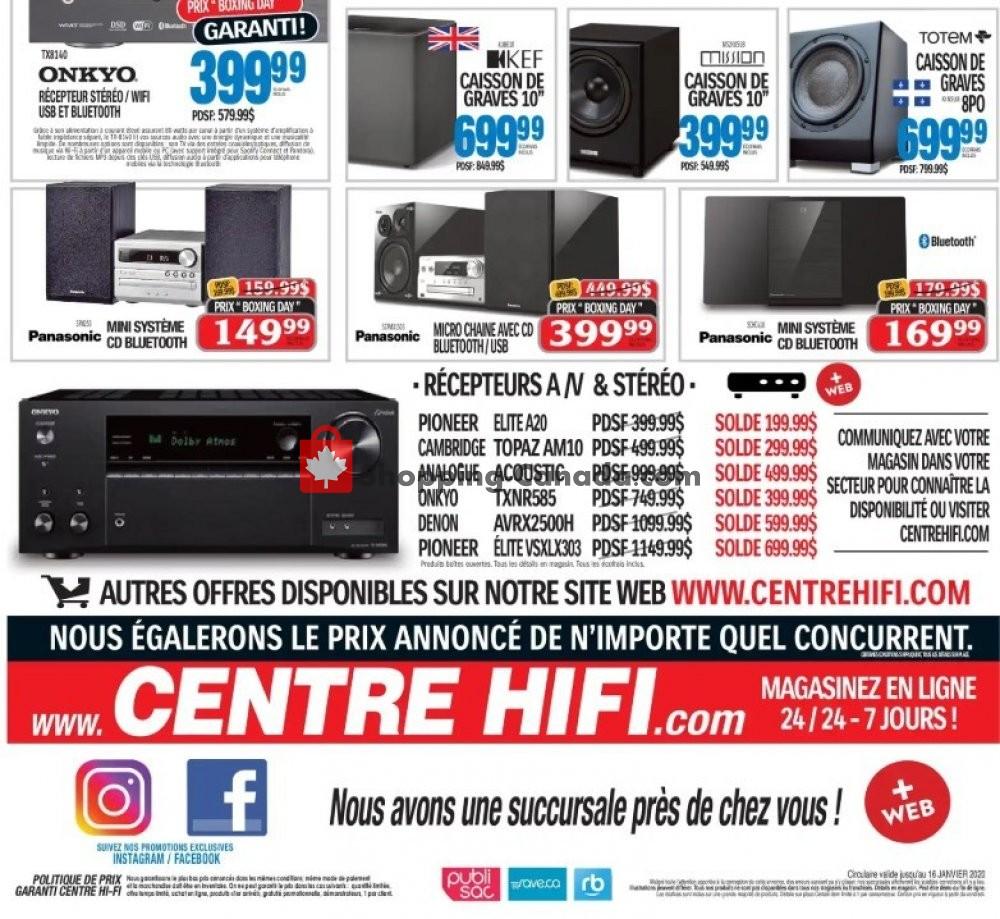 Flyer Centre Hi-Fi Canada - from Friday January 10, 2020 to Thursday January 16, 2020