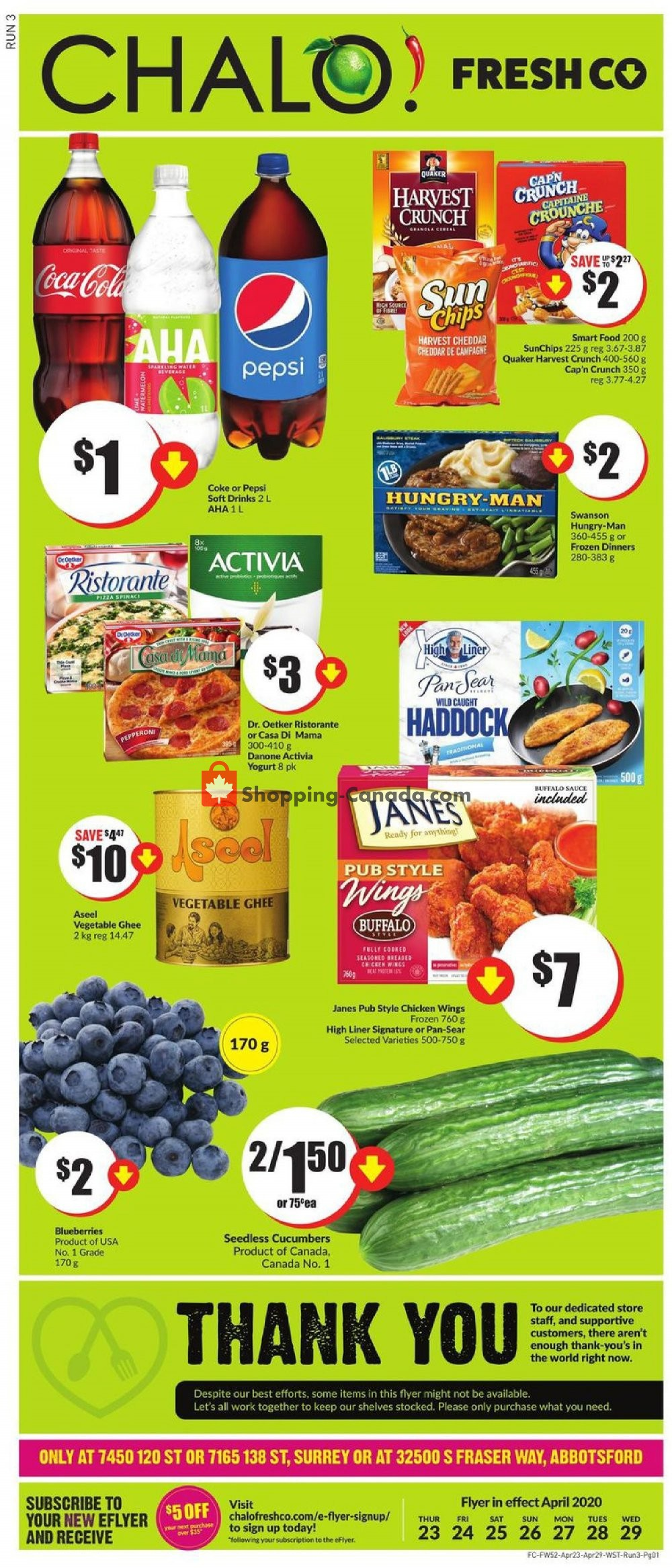 Flyer Chalo FreshCo Canada - from Thursday April 23, 2020 to Wednesday April 29, 2020