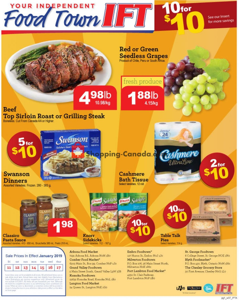 Flyer Chesley Grocery Store Canada - from Friday January 11, 2019 to Thursday January 17, 2019