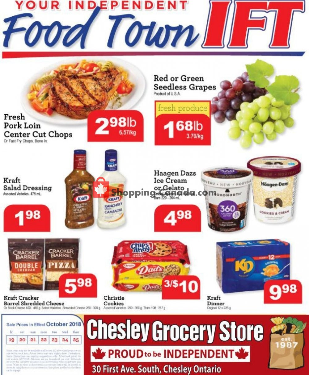 Flyer Chesley Grocery Store Canada - from Friday October 19, 2018 to Thursday October 25, 2018