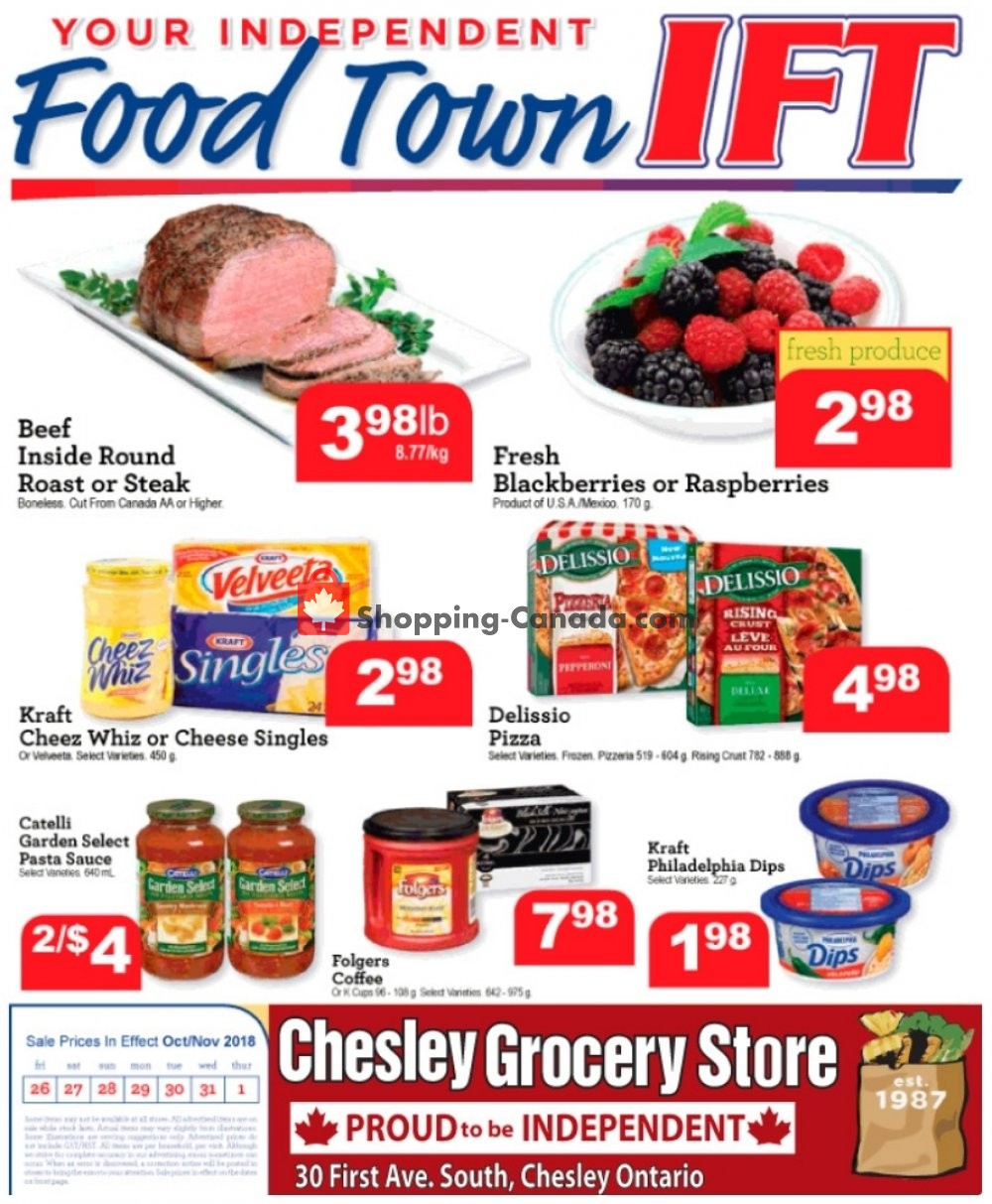 Flyer Chesley Grocery Store Canada - from Friday October 26, 2018 to Thursday November 1, 2018