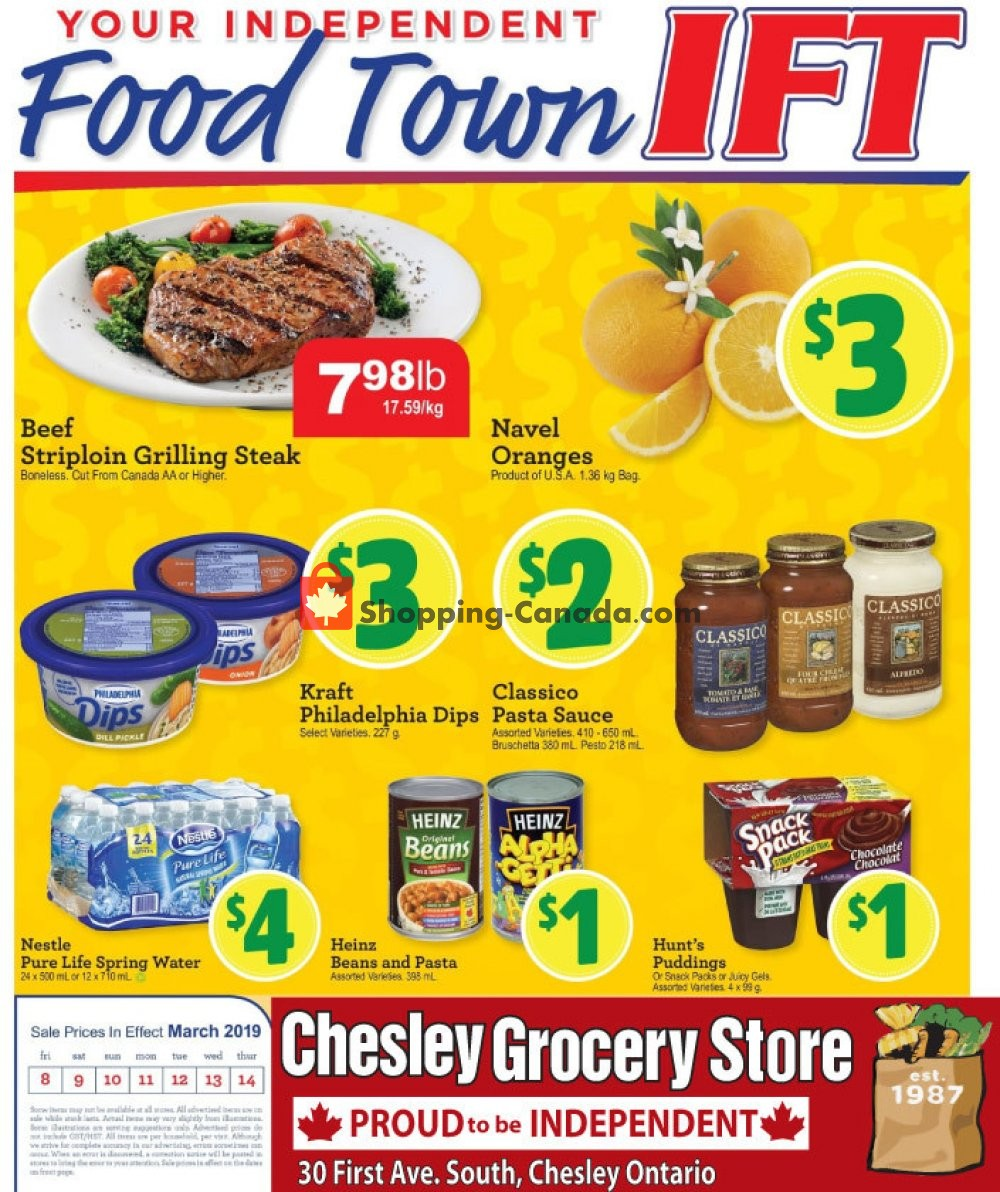 Flyer Chesley Grocery Store Canada - from Friday March 8, 2019 to Thursday March 14, 2019