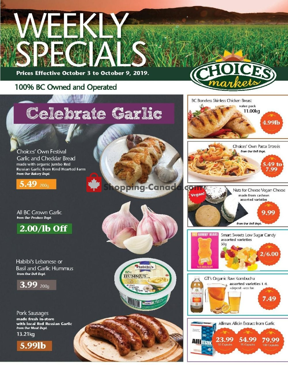 Flyer Choices Market Canada - from Thursday October 3, 2019 to Wednesday October 9, 2019