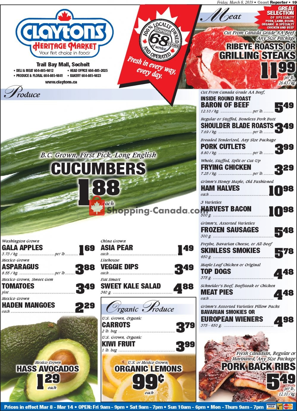 Flyer Claytons Heritage Market Canada - from Friday March 8, 2019 to Thursday March 14, 2019