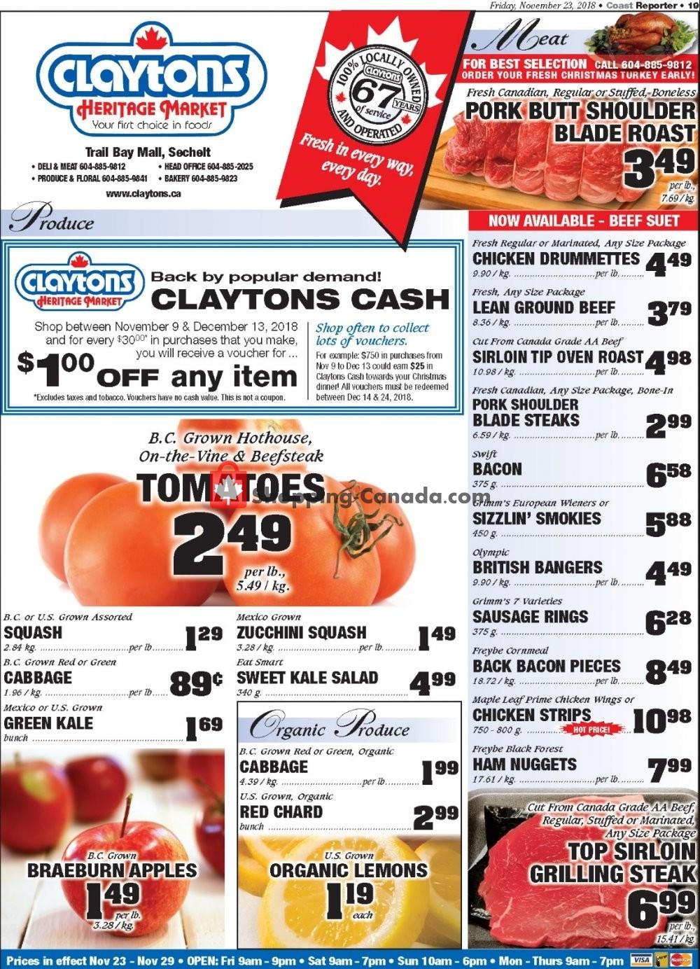 Flyer Claytons Heritage Market Canada - from Friday November 23, 2018 to Thursday November 29, 2018
