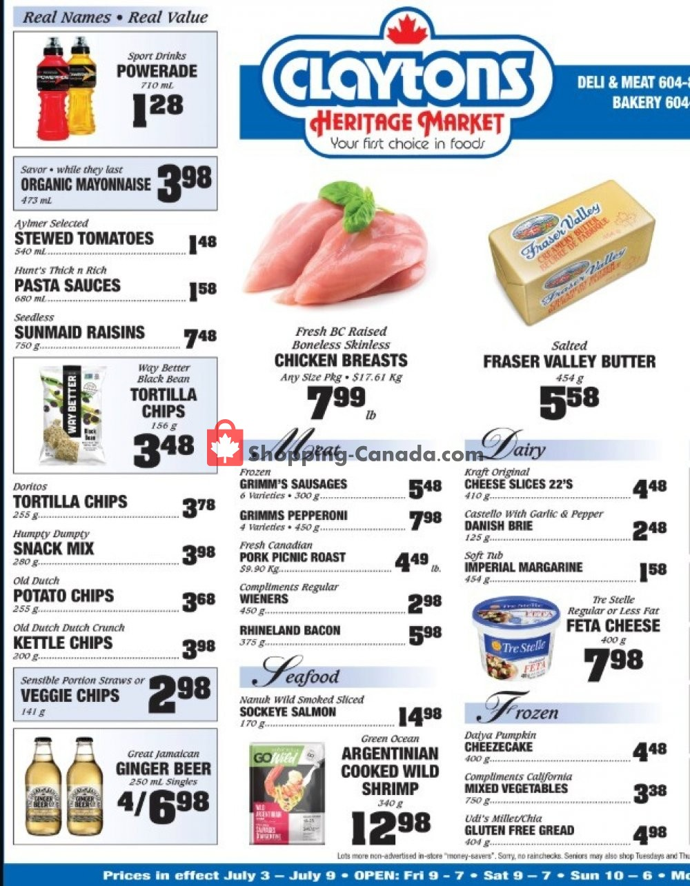 Flyer Claytons Heritage Market Canada - from Friday July 3, 2020 to Thursday July 9, 2020
