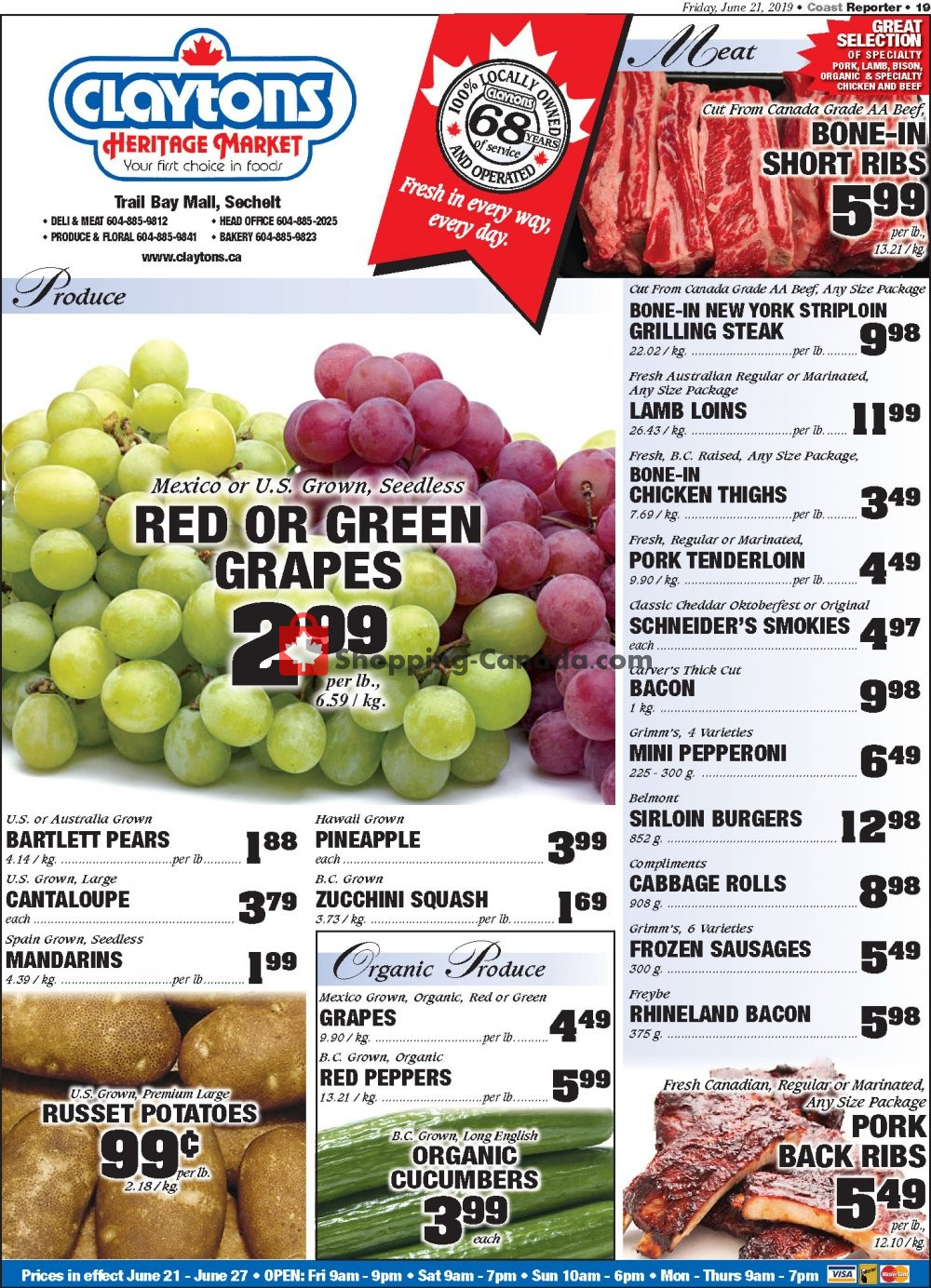 Flyer Claytons Heritage Market Canada - from Friday June 21, 2019 to Thursday June 27, 2019
