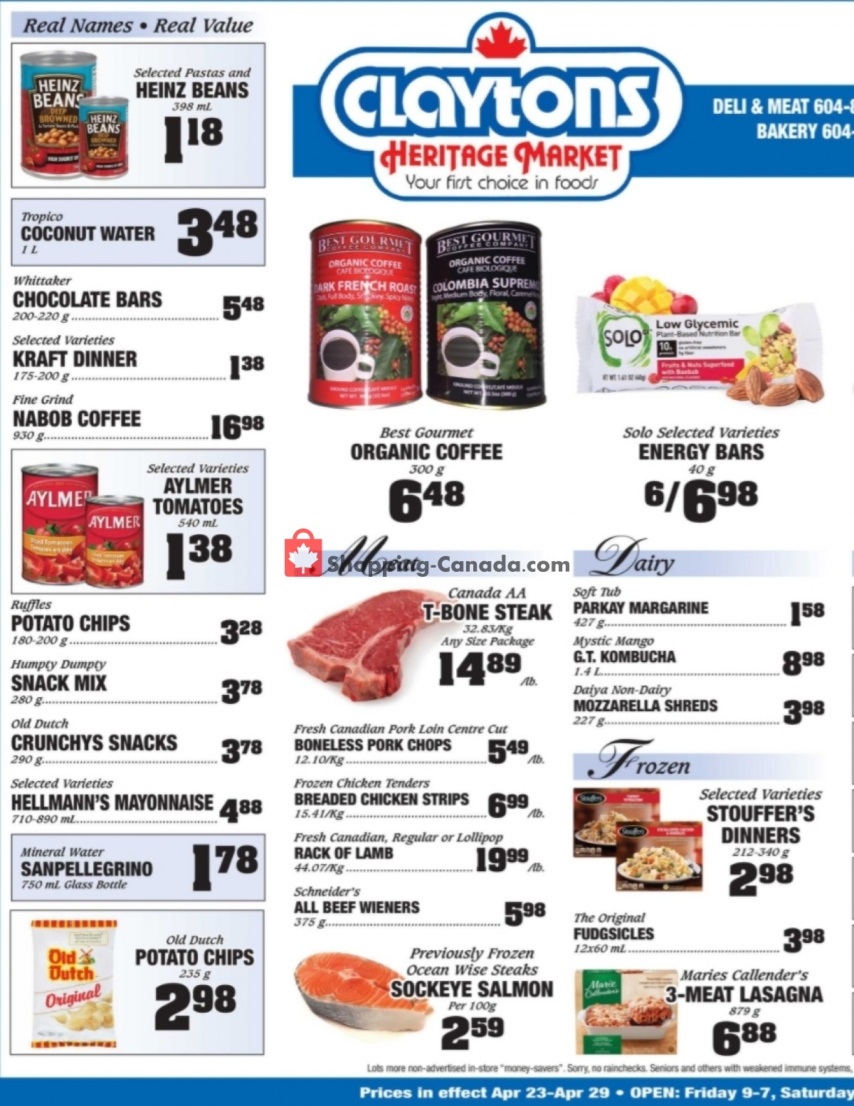 Flyer Claytons Heritage Market Canada - from Friday April 23, 2021 to Thursday April 29, 2021
