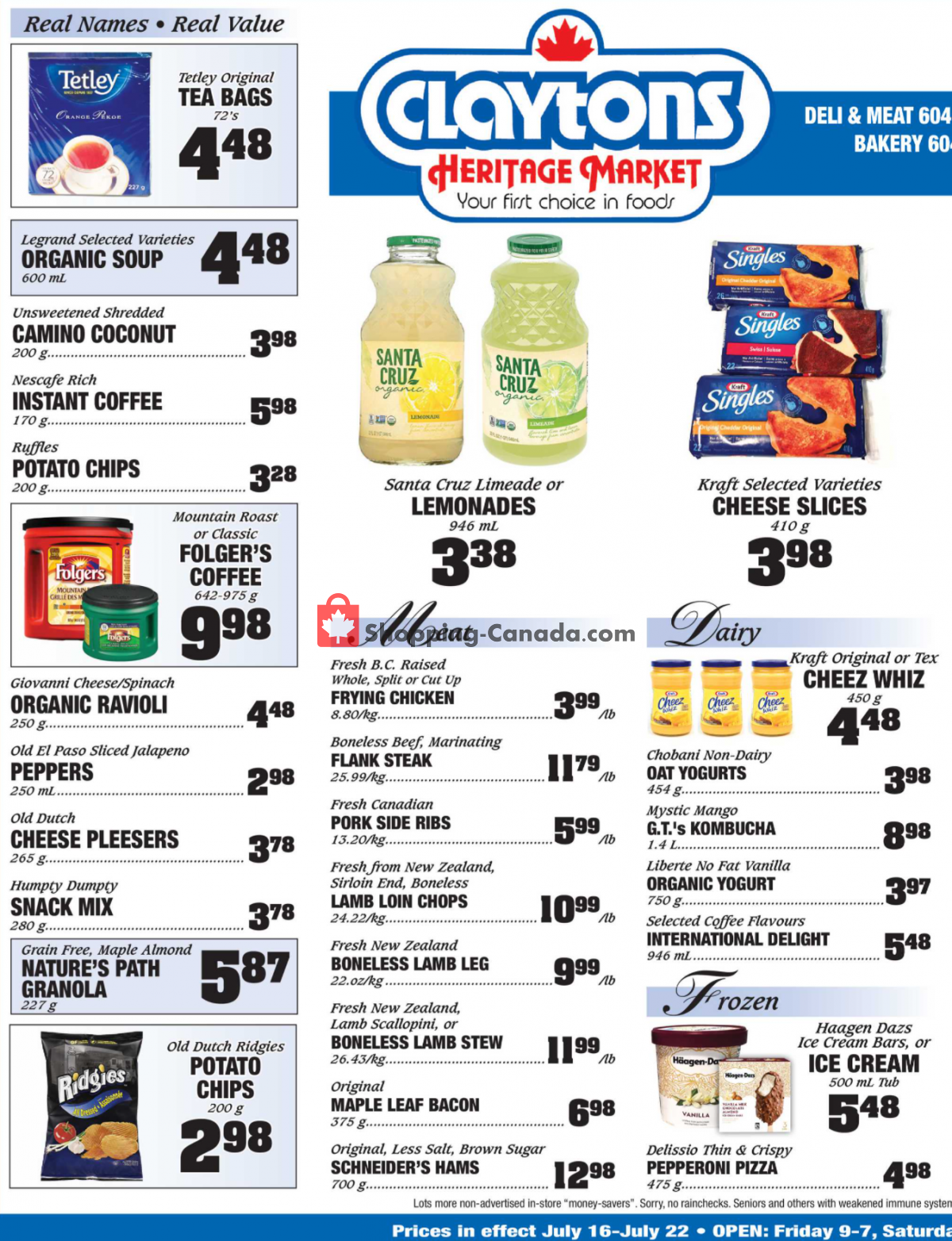 Flyer Claytons Heritage Market Canada - from Friday July 16, 2021 to Thursday July 22, 2021