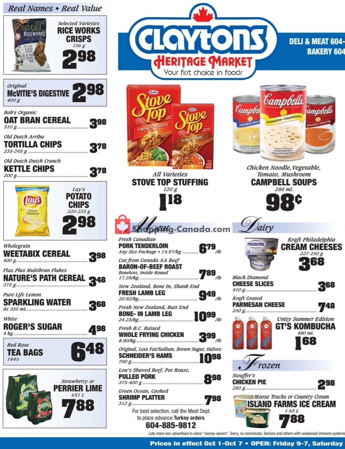 Flyer Claytons Heritage Market Canada - from Friday October 1, 2021 to Thursday October 7, 2021