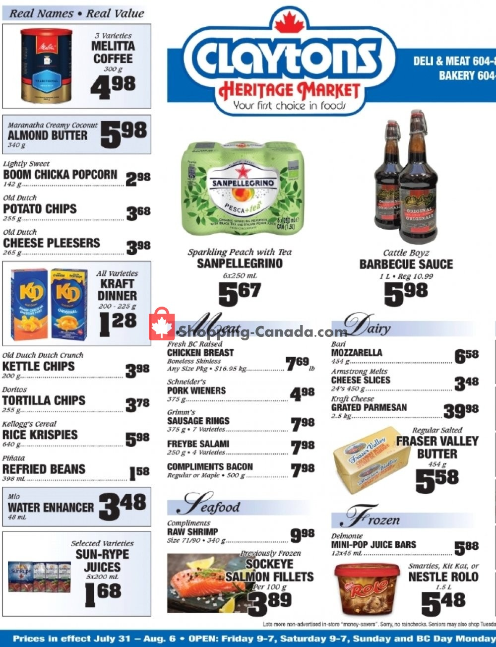 Flyer Claytons Heritage Market Canada - from Friday July 31, 2020 to Sunday September 6, 2020