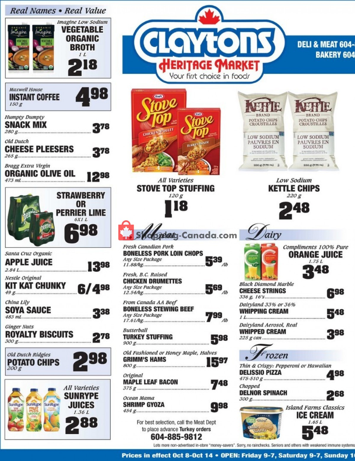 Flyer Claytons Heritage Market Canada - from Friday October 8, 2021 to Thursday October 14, 2021