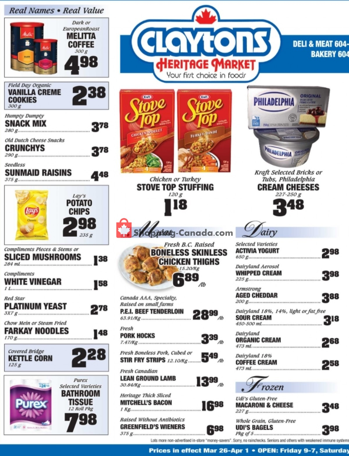 Flyer Claytons Heritage Market Canada - from Friday March 26, 2021 to Thursday April 1, 2021