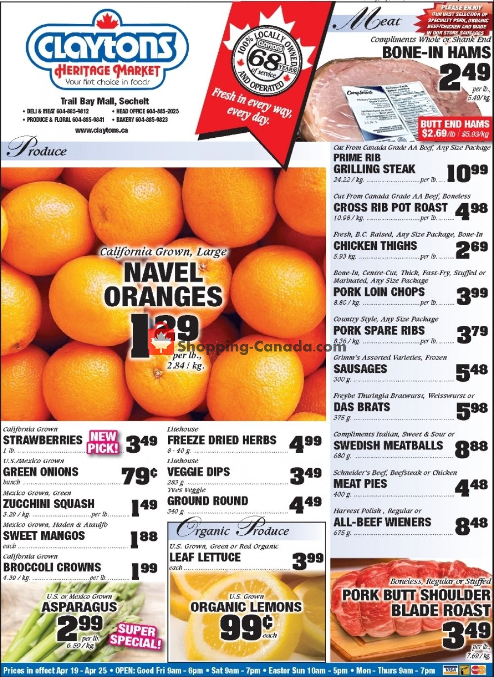 Flyer Claytons Heritage Market Canada - from Friday April 19, 2019 to Thursday April 25, 2019