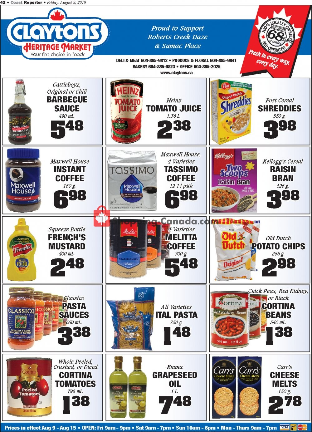 Flyer Claytons Heritage Market Canada - from Friday August 9, 2019 to Thursday August 15, 2019