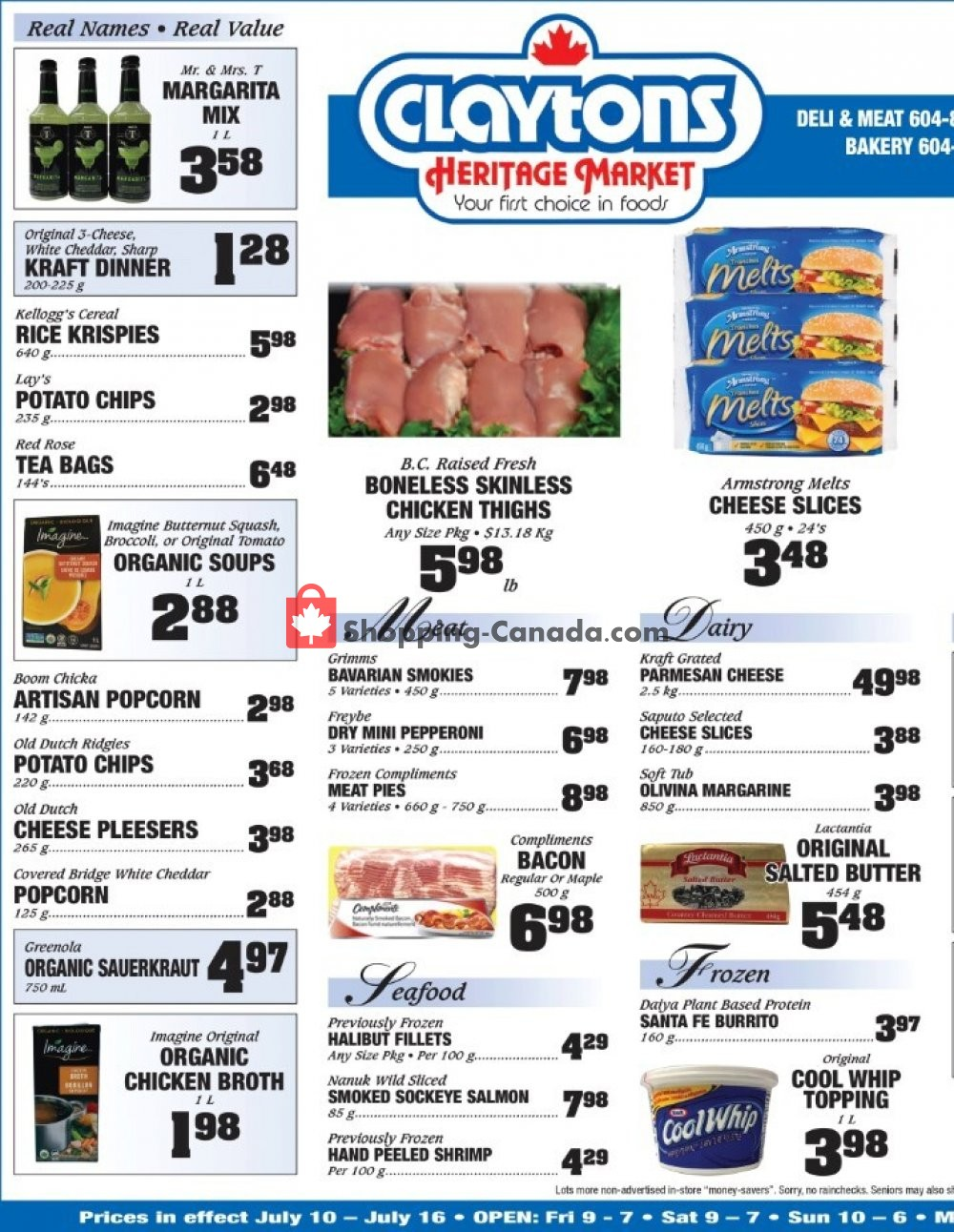 Flyer Claytons Heritage Market Canada - from Friday July 10, 2020 to Thursday July 16, 2020