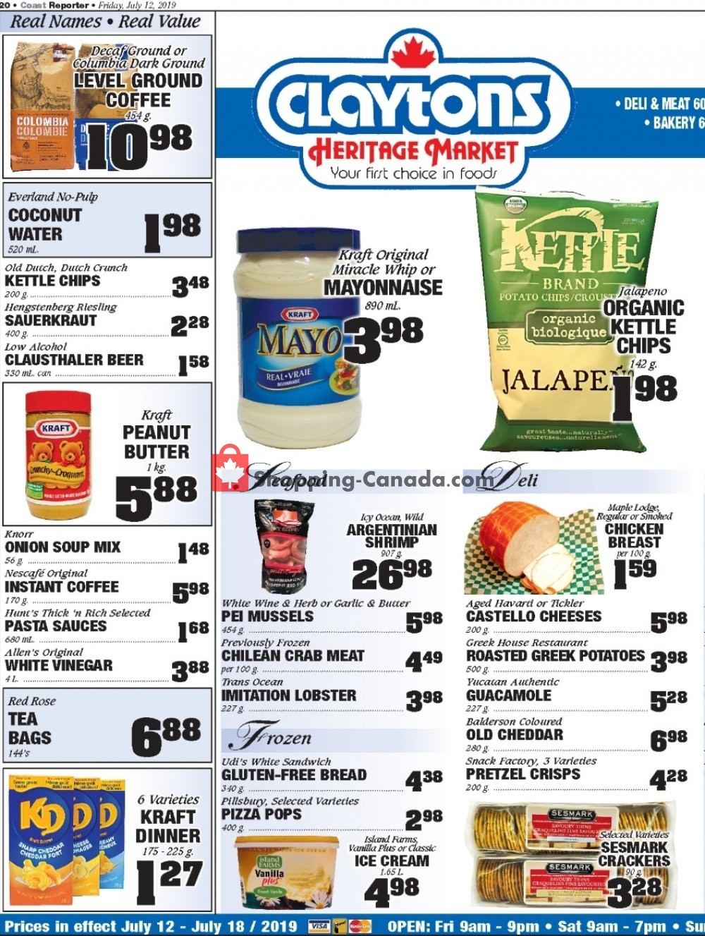 Flyer Claytons Heritage Market Canada - from Friday July 12, 2019 to Thursday July 18, 2019