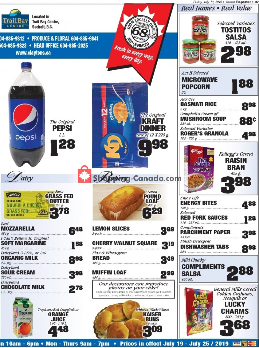 Flyer Claytons Heritage Market Canada - from Friday July 19, 2019 to Thursday July 25, 2019