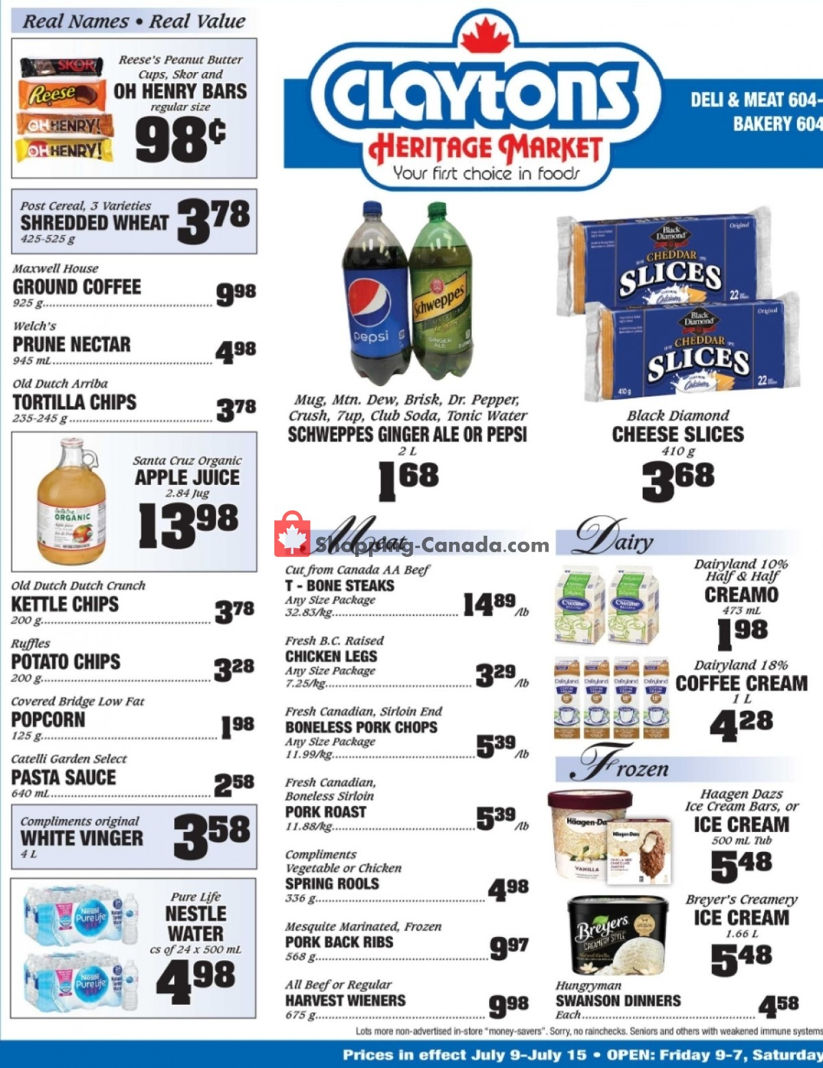 Flyer Claytons Heritage Market Canada - from Friday July 9, 2021 to Thursday July 15, 2021