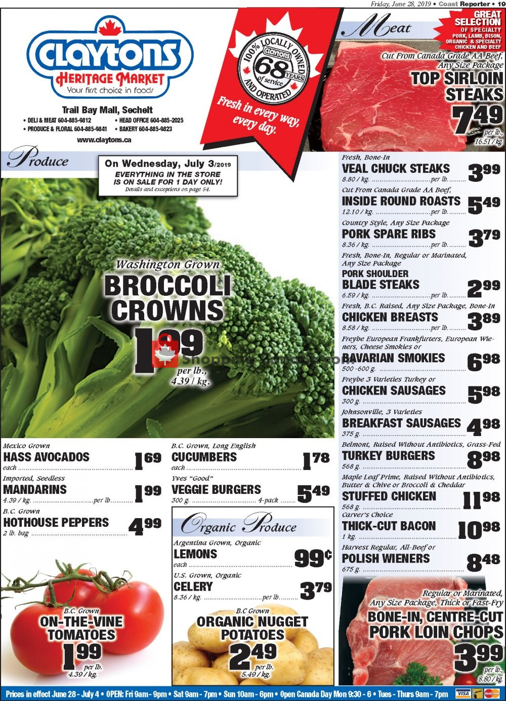 Flyer Claytons Heritage Market Canada - from Friday June 28, 2019 to Thursday July 4, 2019