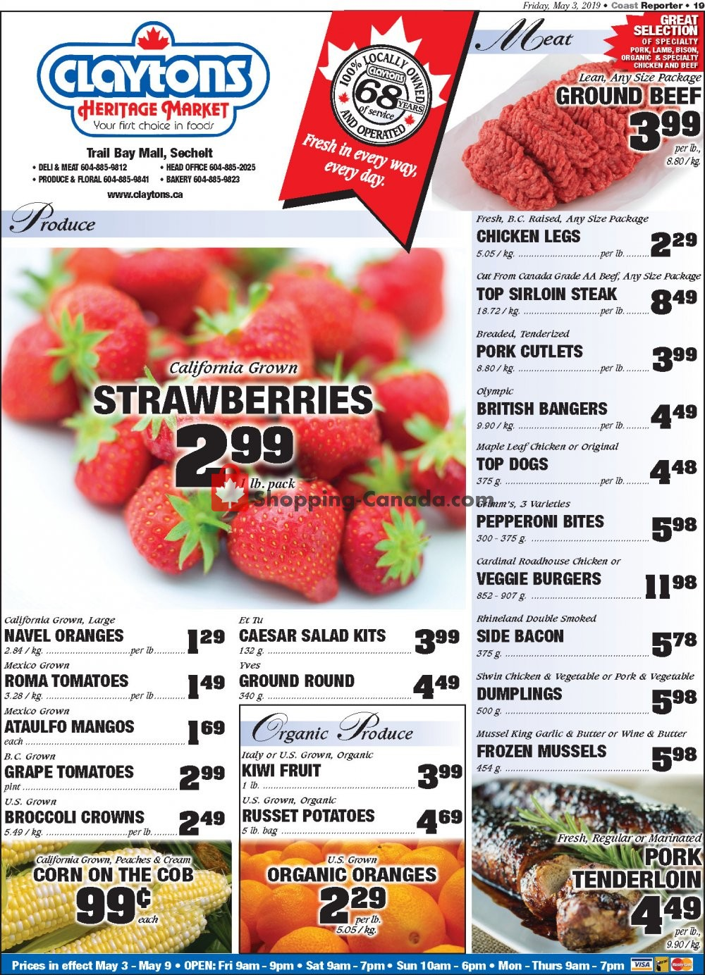 Flyer Claytons Heritage Market Canada - from Friday May 3, 2019 to Thursday May 9, 2019