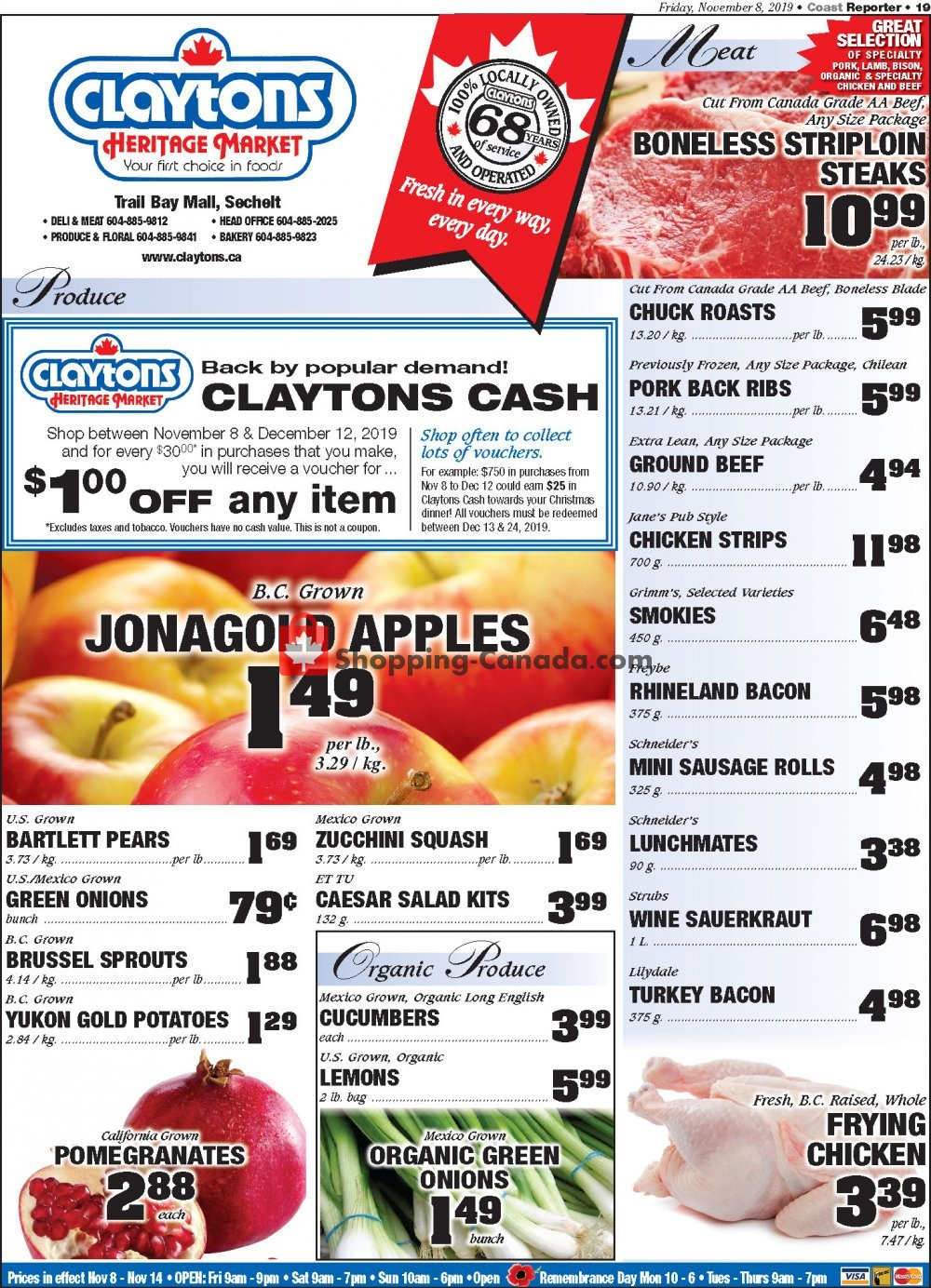 Flyer Claytons Heritage Market Canada - from Friday November 8, 2019 to Thursday November 14, 2019