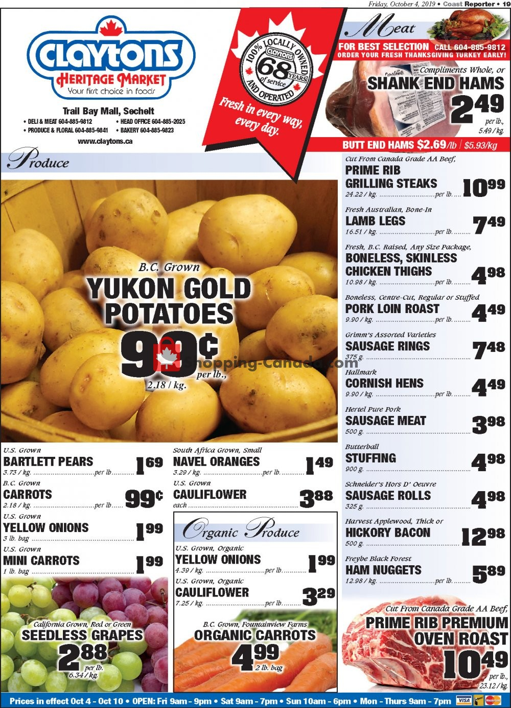 Flyer Claytons Heritage Market Canada - from Friday October 4, 2019 to Thursday October 10, 2019
