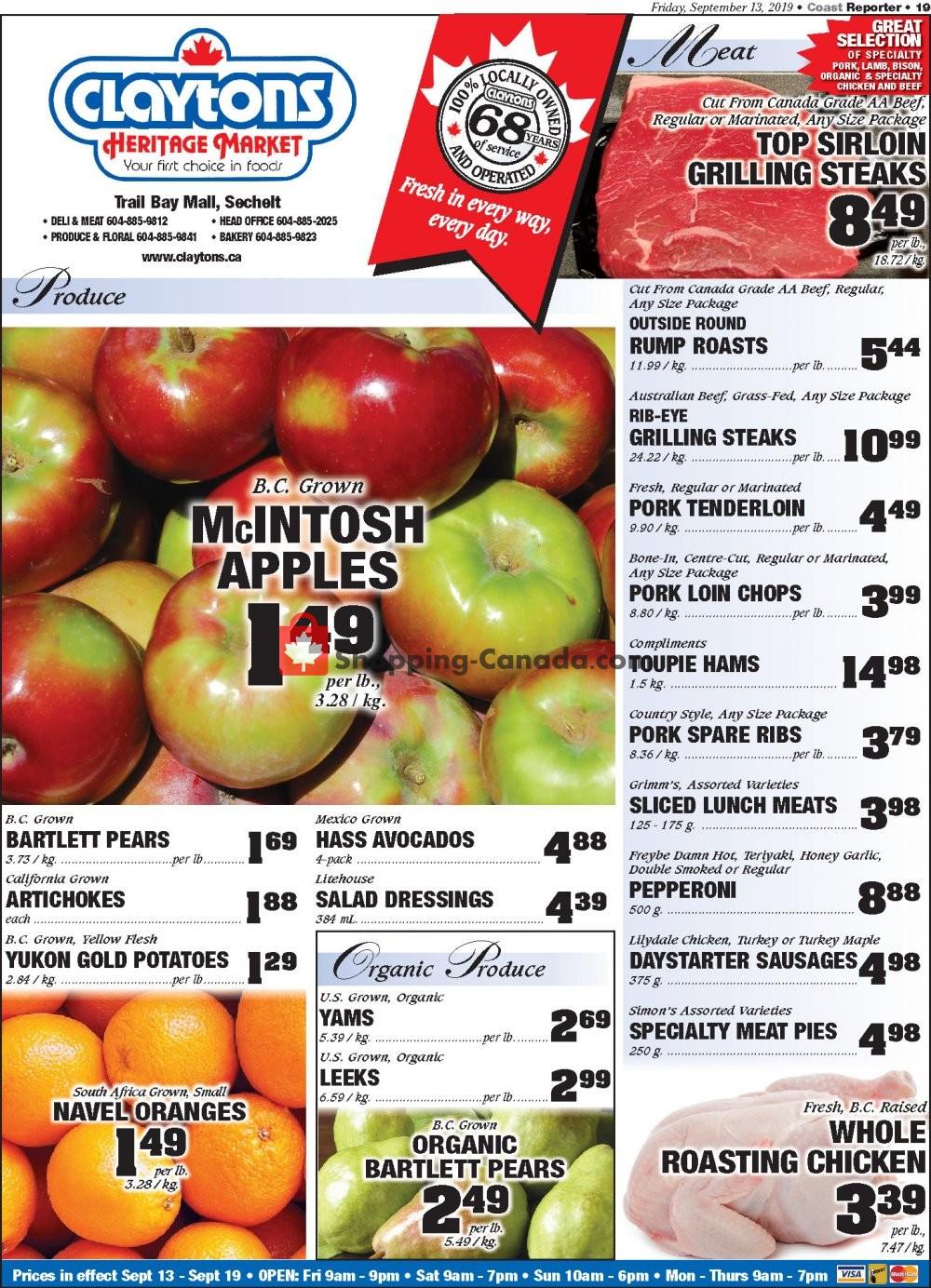Flyer Claytons Heritage Market Canada - from Friday September 13, 2019 to Thursday September 19, 2019