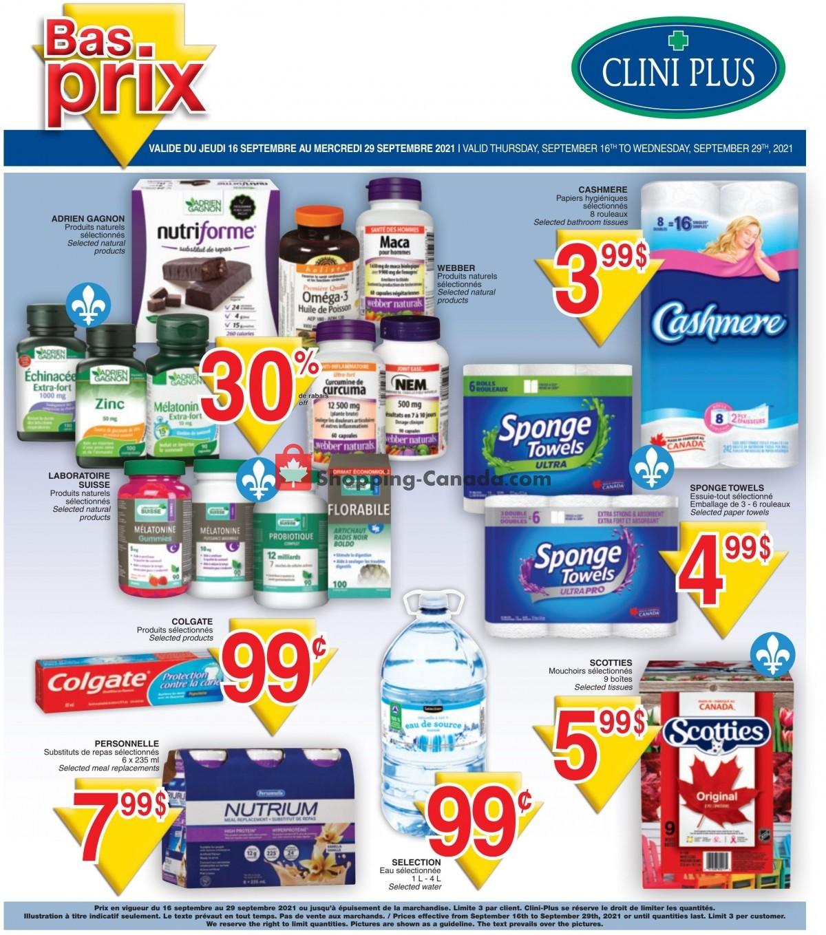 Flyer Clini Plus Canada - from Thursday September 16, 2021 to Wednesday September 29, 2021