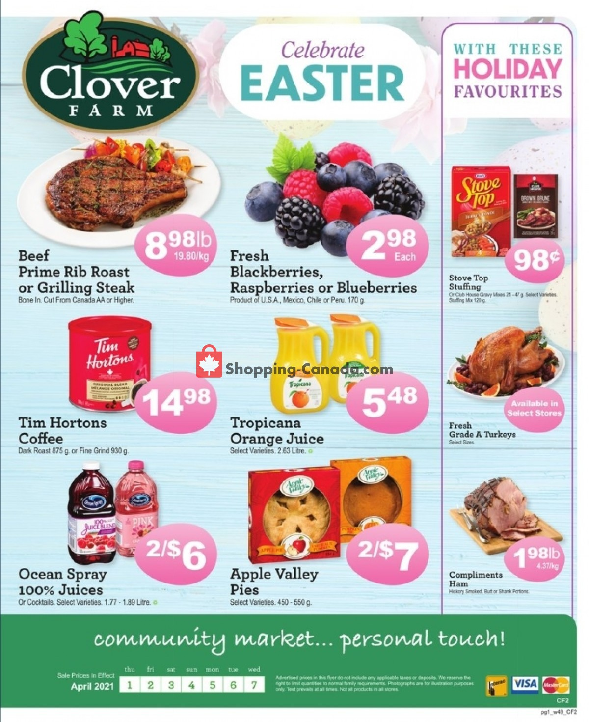Flyer Clover Farm Canada - from Thursday April 1, 2021 to Wednesday April 7, 2021