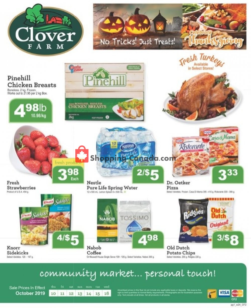 Flyer Clover Farm Canada - from Thursday October 10, 2019 to Wednesday October 16, 2019