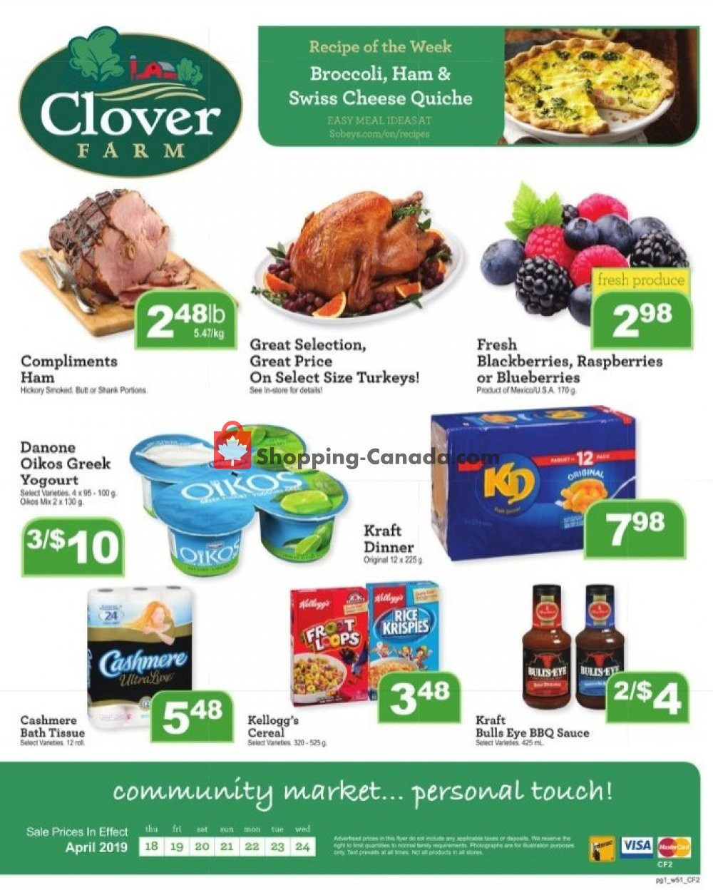 Flyer Clover Farm Canada - from Thursday April 18, 2019 to Wednesday April 24, 2019