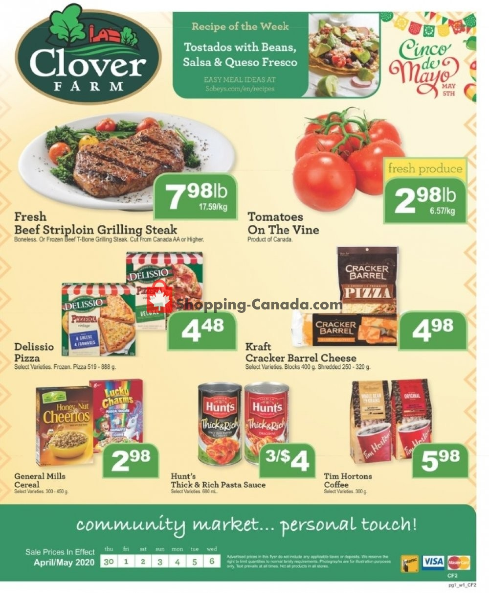 Flyer Clover Farm Canada - from Thursday April 30, 2020 to Wednesday May 6, 2020