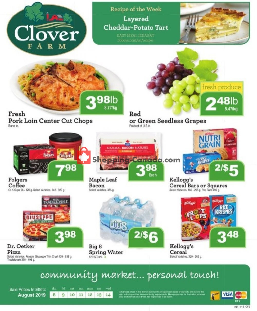 Flyer Clover Farm Canada - from Thursday August 8, 2019 to Wednesday August 14, 2019