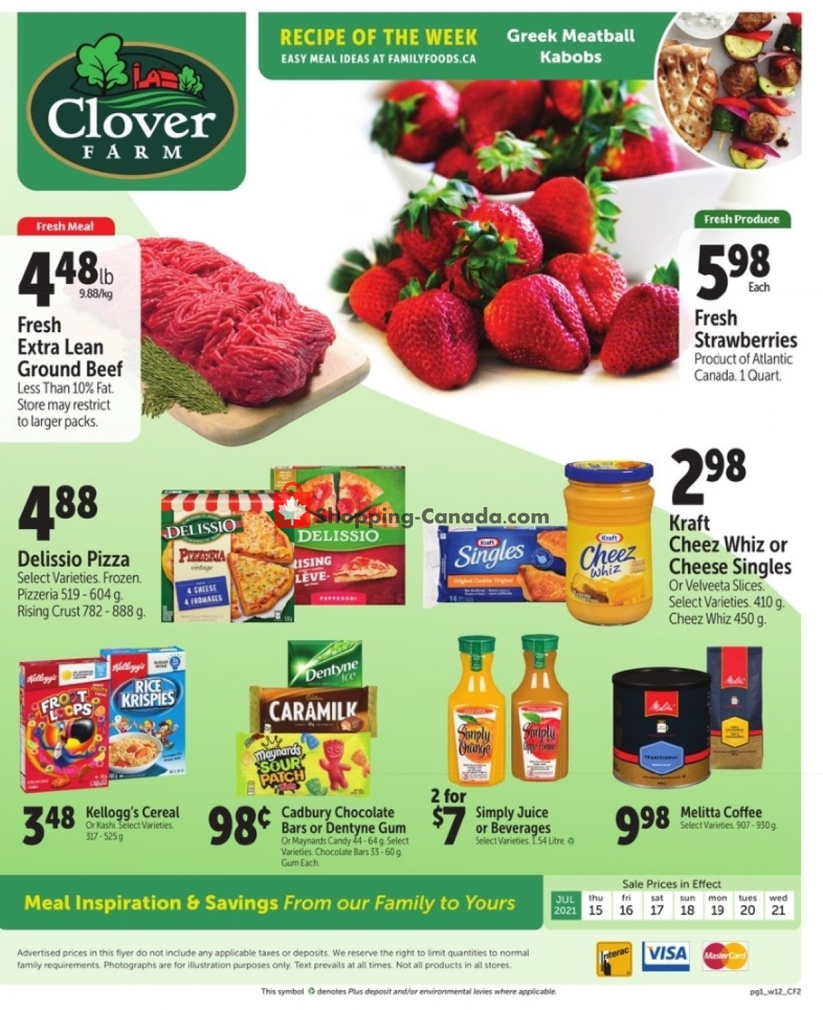 Flyer Clover Farm Canada - from Thursday July 15, 2021 to Wednesday July 21, 2021