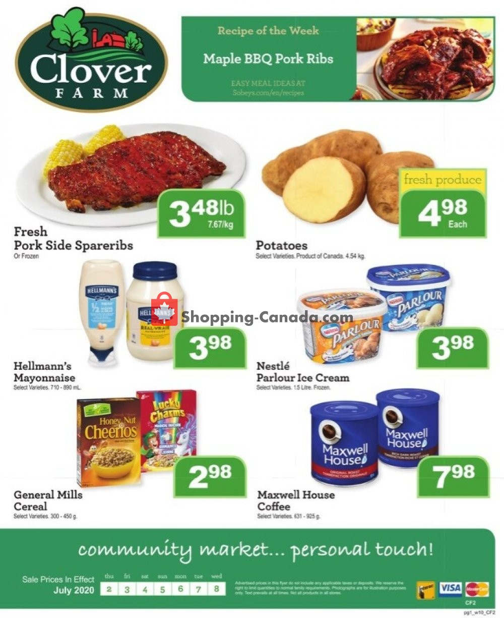 Flyer Clover Farm Canada - from Thursday July 2, 2020 to Wednesday July 8, 2020
