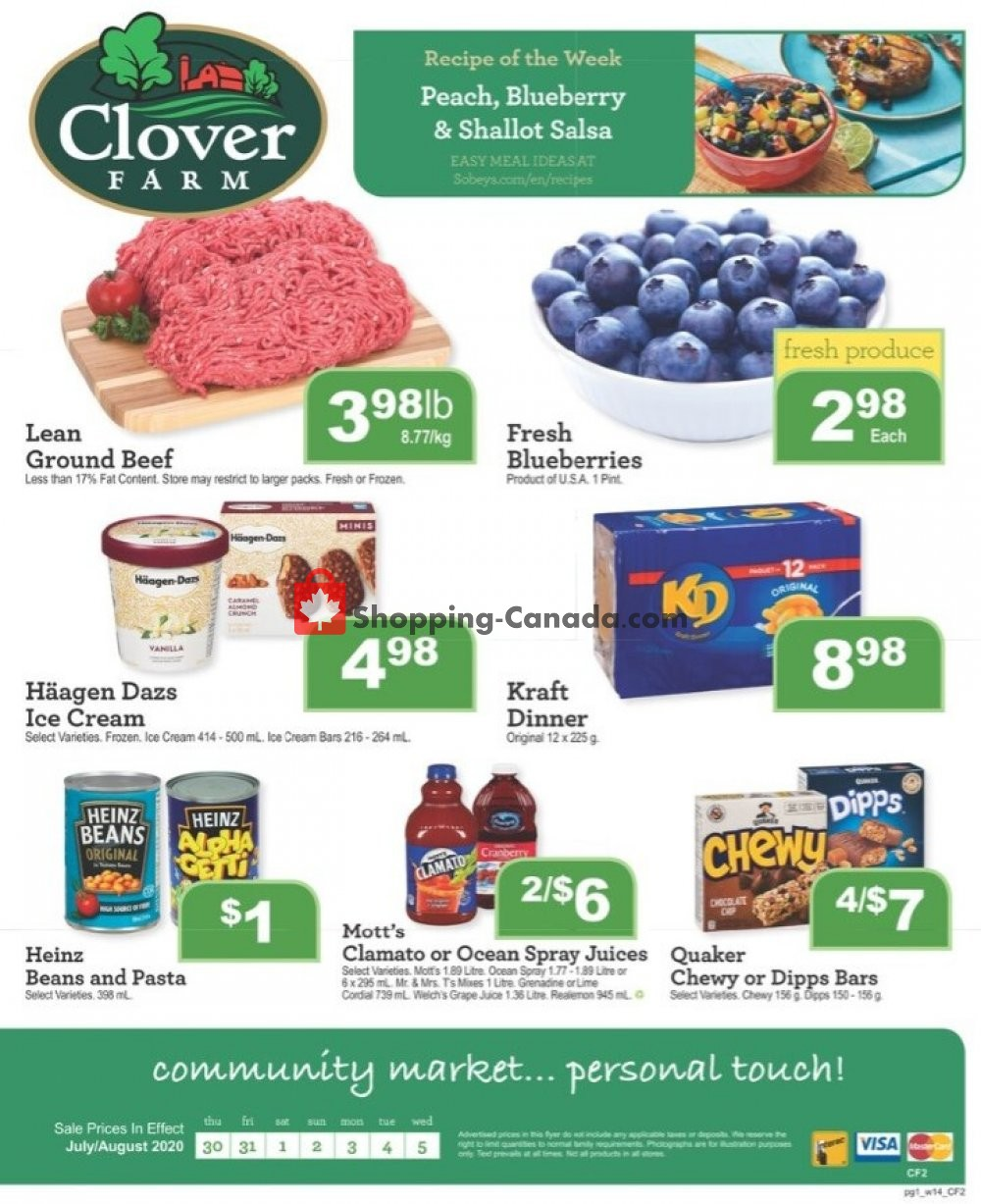 Flyer Clover Farm Canada - from Thursday July 30, 2020 to Wednesday August 5, 2020