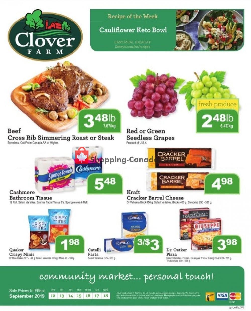 Flyer Clover Farm Canada - from Thursday September 12, 2019 to Wednesday September 18, 2019