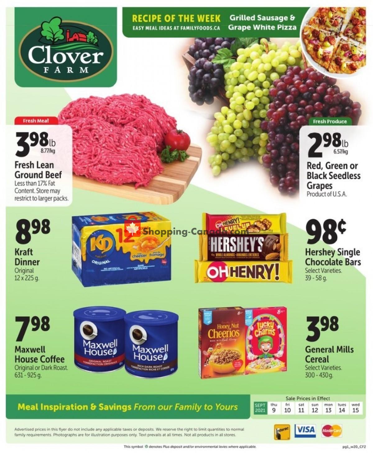Flyer Clover Farm Canada - from Thursday September 9, 2021 to Wednesday September 15, 2021