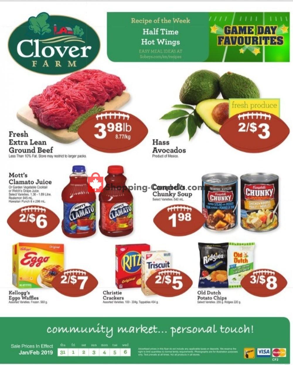 Flyer Clover Farm Canada - from Thursday January 31, 2019 to Wednesday February 6, 2019