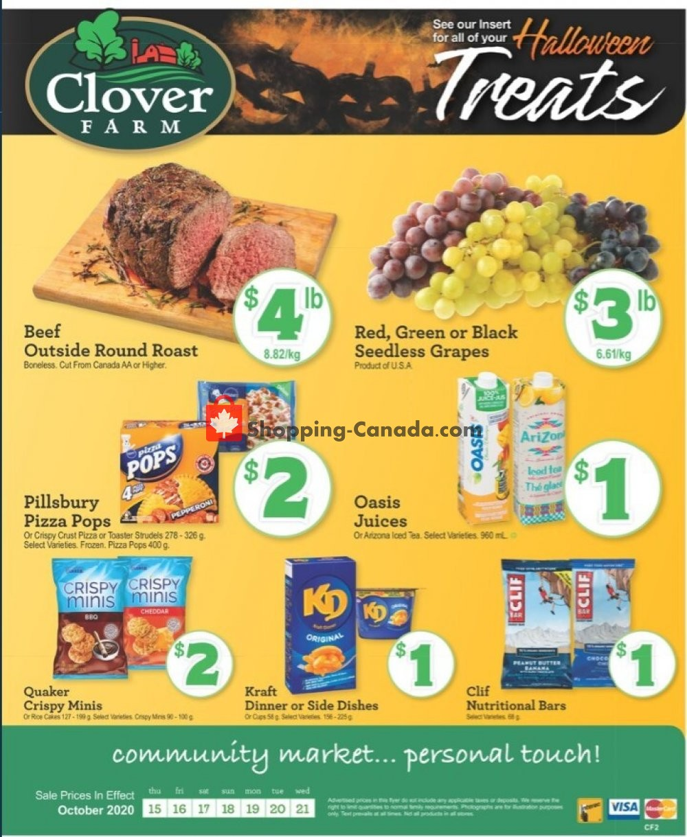 Flyer Clover Farm Canada - from Thursday October 15, 2020 to Wednesday October 21, 2020