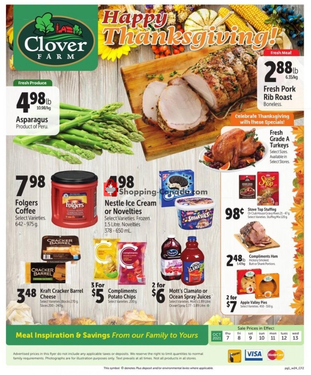 Flyer Clover Farm Canada - from Thursday October 7, 2021 to Wednesday October 13, 2021