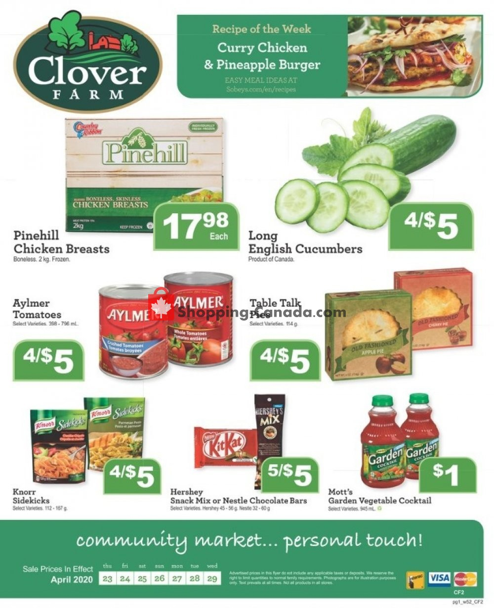 Flyer Clover Farm Canada - from Thursday April 23, 2020 to Wednesday April 29, 2020
