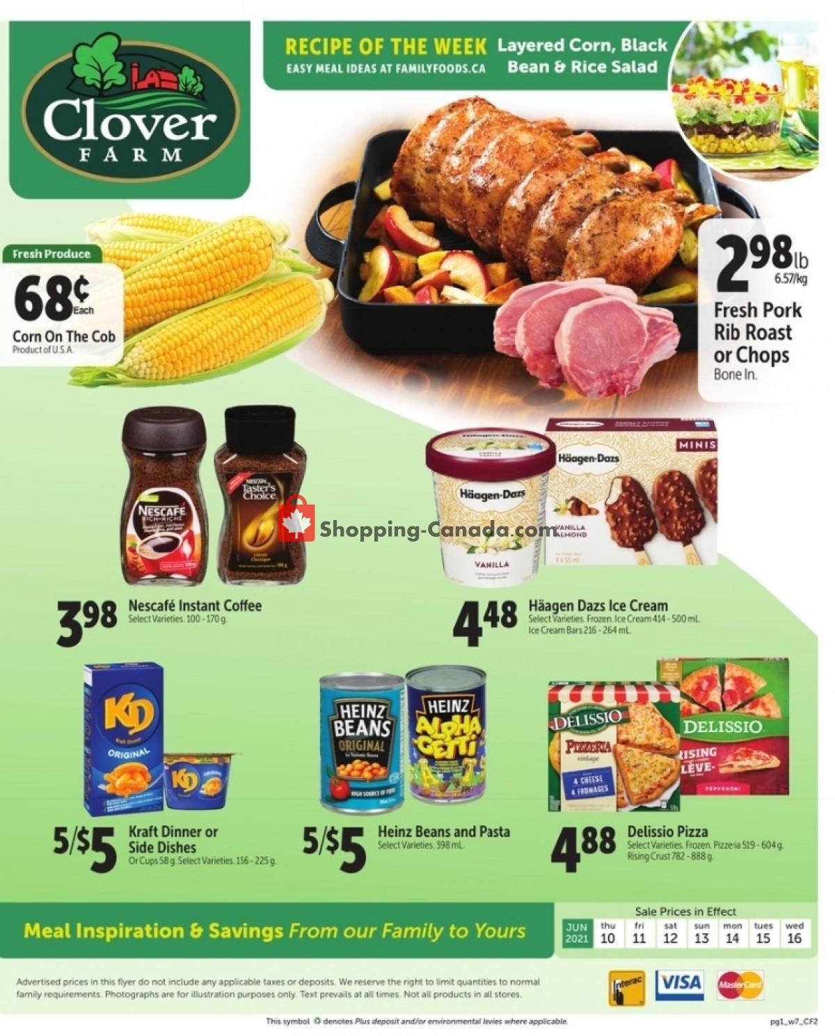 Flyer Clover Farm Canada - from Thursday June 10, 2021 to Wednesday June 16, 2021