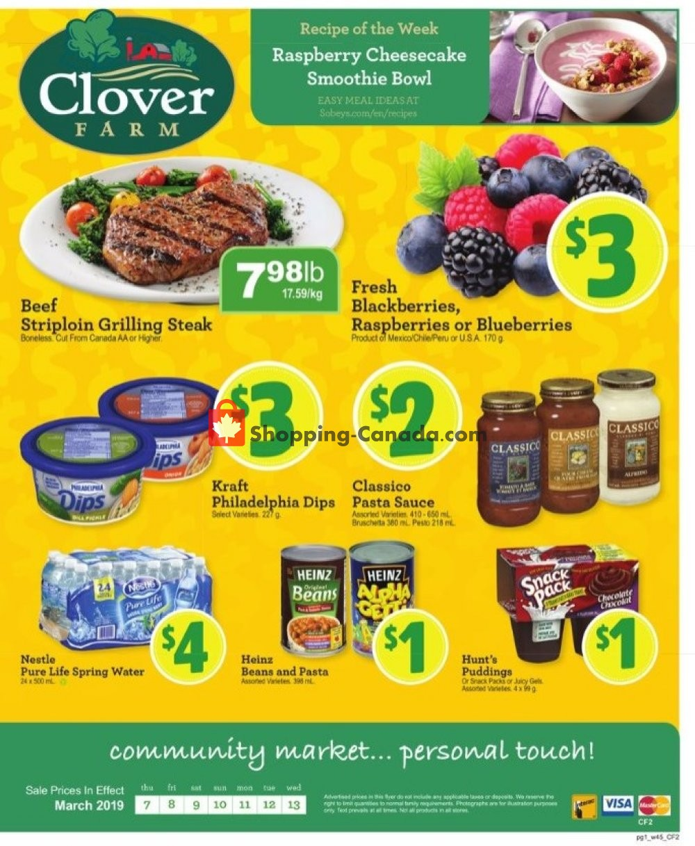 Flyer Clover Farm Canada - from Thursday March 7, 2019 to Wednesday March 13, 2019