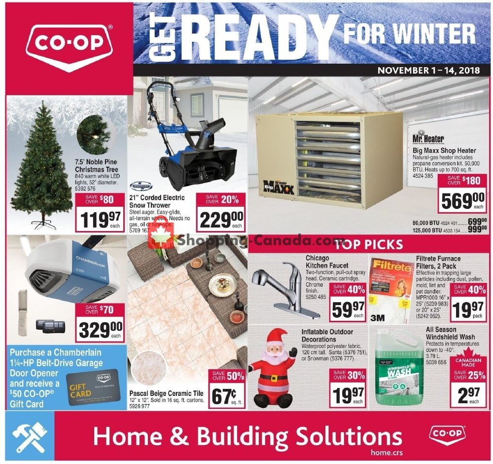 Flyer Co-op Canada - from Thursday November 1, 2018 to Wednesday November 14, 2018