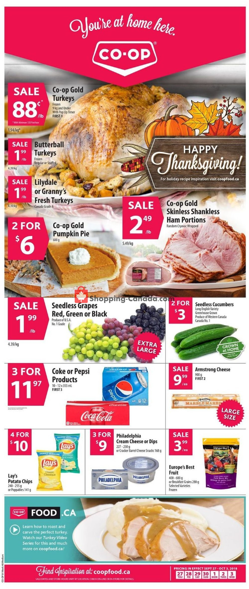 Flyer Co-op Canada - from Thursday September 27, 2018 to Wednesday October 3, 2018