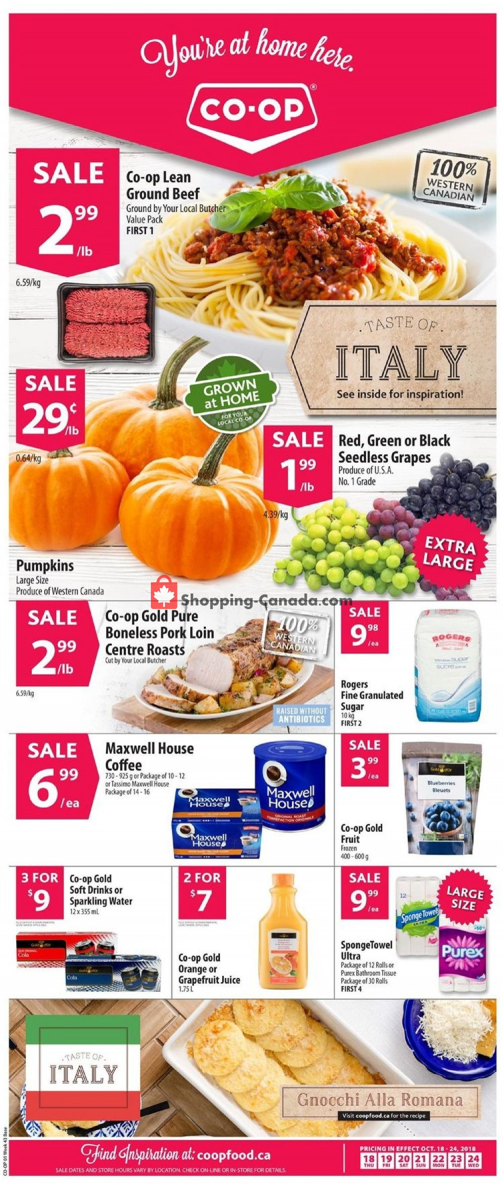 Flyer Co-op Canada - from Thursday October 18, 2018 to Wednesday October 24, 2018
